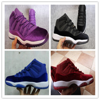 Wholesale new Retro GS Velvet Heiress Basketball Shoes New Wine Red Purple black blue Cheap retro Sneakers For kids Men Women