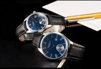 Cheap Calendar Lover Watches Luxury Blue Ray Men Women Fashion Design Auto Date Business Suit Dress Quartz Wristwatch Leather Strap Bracelet Watch