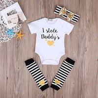 Wholesale 2017 Newborn Baby Girl I Stole Daddy s Heart Bodysuit Short Sleeves Jumpsuit Outfit Clothes M