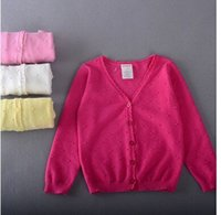 Wholesale Female children wear sweaters the cardigan coat cotton four color optional Light and comfortable practical joker