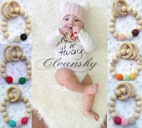 baby bracelet toy - 6 colors Baby Teether Wood Teething Ring Toss Games For Baby Gift Mom Bracelet Chunky Crochet knitted Baby Toy safety Wood Teether Toy M532