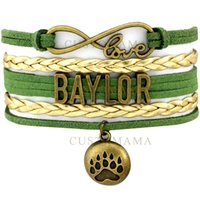 baylor gifts - Custom Infinity Love Baylor Bears Bracelet Gift for Football Fans Green Gold Wax Suede Leather Bracelet Custom any Themes