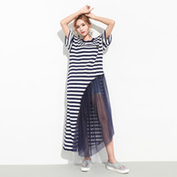 nouvelles robes de mode achat en gros de-2017 Summer Spring New Fashion Striped Round Collar Batwing Sleeve Irregular Stitching Net Fils Loose Grande taille Robe Femme F51217