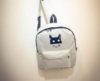 School Teenager Cat Sac à dos Mode Jeunes Filles Garçons Solid Couleur Blanc Noir Sac à bandoulière de voyage en plein air Day Pack