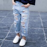 Wholesale 2017 New Stylish Kids Denim Pants Spring Summer Fashion Holes cool Good Quality Girls Jeans G431