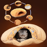 Wholesale Dog Sleepingbag Cat Sleepingmat Soft Cat Dog Kitten Cave Pet Bed House Sleeping Mat Pad Igloo Winter Warming Sleeping Bag Brown Petcarrier