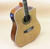 Wholesale Electro Acoustic Electric Folk Pop Flattop Guitar Dreadnought Inch Guitarra String Picea Mahogany Built in Tuner Cutaway