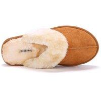 australian flip flops - Hot Sale Luxury Winter Plush Leather Furry Flip Flops House Fuzzy Fur Soft Bedroom Australian Slippers for Women no ug Anti