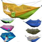 Wholesale Portable Travel Camping Hammock High Strength Parachute Fabric Camping Hammocks Hanging Bed With Mosquito Net Outdoor Swing Sleeping Hammock