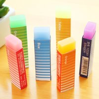 Wholesale Novelty Cute Kawaii Colored Long Strip Rubber Eraser Creative Jelly Eraser For Kids Gift Korean Stationery Student Prize