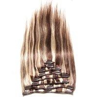 al por mayor cabello virgen más destacado-8 PC / set Clip del resplandor en el pelo humano brasileño de las extensiones del pelo mezcló el clip principal lleno recto sedoso del color en la extensión del pelo de la Virgen de Remy