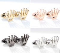 Wholesale Hot sale colors Brand New Fashion Cufflinks Gold Plating Copper Material Crown Design Best Gift Men Cufflinks