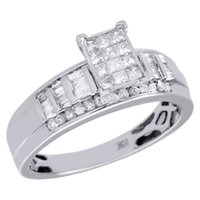 Women's baguette engagement ring - 10K White Gold Princess Round Baguette Diamond Engagement Wedding Ring CT
