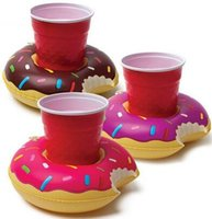 Wholesale 2016 new Inflatable Donut Coasters PVC Cup holder Water coke cup holder Beverage Boats Big Mouth Swimming holder DHL free