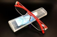 Wholesale New Unisex Clear Rimless Reading Glasses Spectacles Eyeglasses with Case Red E00641 SPDH