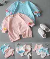 Wholesale LG26 New Arrivals INS Baby Kids GIRL CLIMBING ROMPER Cotton ROUND Collar Long Sleeve Triangle Girl Cute One Piece Rompers Jumpsuits