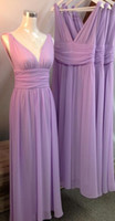 Wholesale 2017 Real Photos Lilac Bridesmaids Dresses V Neck Pleats Ribbon Backless Floor Length Chiffon Beach Maid of Honor Wedding Guest Party Gowns
