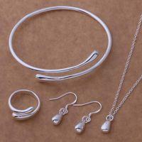 Hot Sale Eau Drop Mariage Mode 925 Bijoux Plaqué Argent Ensemble Grande Main Chaîne Bracelet Collier Anneau Crochet Oval Earings Eardrop