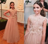bead designs for kids - New Design Feather Flower Girl Dresses for Vintage Wedding Champagne Tulle Sequin Little Kids Girls Pageant Gowns Baby Communion Dress