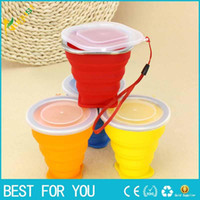 Wholesale New hot ml Free DHL New Vogue Outdoor Travel Silicone Retractable Folded Cup Telescopic Collapsible