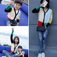 Wholesale Knitted Cardigan Sweater Multicolor Mosaic Family Matching Outfits FOR mother AND SON OR Daughter