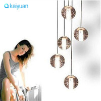Wholesale 1 head LED Crystal Glass Ball Pendant Lamp Meteor Rain Ceiling Light Meteoric Shower Stair Bar Droplight Chandelier Lighting AC110 V