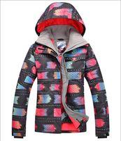 Wholesale 2017 Gsou snow womens ski jacket black with red pattern skiing jacket lady cotton padded snowboard jacket skiwear winter sports tops