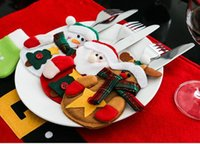 bags colored glass - Christmas Kitchen Cutlery Suit Holders Decoration Gift Porckets Knifes And Folks Bag Ornament Party Supply Santa Claus Snowman Deer Shaped