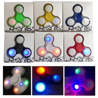 Wholesale 2017 New LED Light Hand Spinner Colorful Decompression Finger LED Fidget Spinner Toys VS Luminous Batman Cyclone Torqbar Handspinner