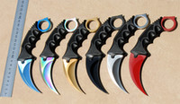 Wholesale Top Quality styles CSGO karambit knife claw knife c steel outdoor tactical camping EDC pocket tools with sheath rope