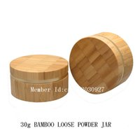 bamboo cosmetic containers - 30g empty Bamboo Loose Powder Jar with Sifter and Cotton Pads Refillable Plastic Make up Jar Cosmetic Container