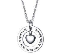 China fabricante de joyería 304l collar de acero inoxidable collar colgante grabado collar con collar de gargantilla corazón encanto
