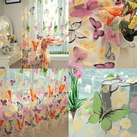Wholesale Romantic Bedroom Cheap Ready Made Finished Organza Child Window Cortina Butterfly Curtain for Living Room Home Decor