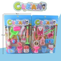 Wholesale 10pcs kids toys cleaning set play house set doll house cleaning toy broom trash can bucket water heater hanger dustpan brush mop