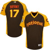 baseball bats discount - Discount Kris Bryant Chicago Cubs All Star Game Batting Practice Player Cubs Jersey Brown Throwback Baseball Jerseys With Gold and Grey