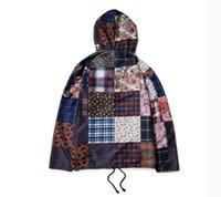 anorak pullover jacket - Autumn Supremitied brand clothing jacket men hip hop Retro Patchwork Anorak beggar Cashew flowers sup bap hoodie coat