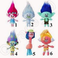 Wholesale 6 Designs Movie Trolls Doll Plush Toy inches Poppy Branch Dream Works Stuffed Cartoon Dolls The Good Luck Trolls CCA5316