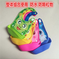 baby food combinations - Baby bib imitation silicone Bibi combo three dimensional combination of baby food pocket can be dismantled mouth towel