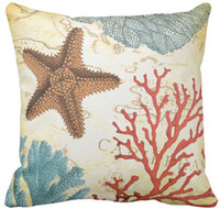 Wholesale Tropical Colorful Caribbean Starfish and Coral Throw Pillow Case Sofa Cushions Case Car Pillow Case