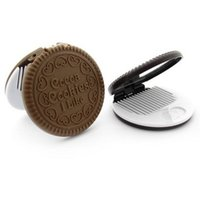 Wholesale Chocolate cookie biscuit mirror comb other portable folding mirror comb mirror