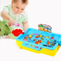 Wholesale Set Educational Fishing Up Electric Magnetic Colorful Fish Cat Music Toys for Children Fun Baby Kids Birthday Party Game Gifts