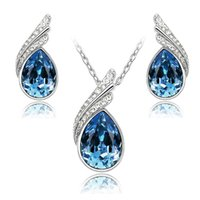 Wholesale High quality austrian crystal jewelry set with Rhinestone necklace and earrings fashion Women Crystal Jewelry set