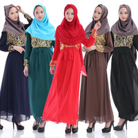 Wholesale New Arrival Muslim Dress Long Sleeve Spring Autumn Abaya Dress Islamic Women Chiffon Maxi Dubai Dress Clothing XA0312