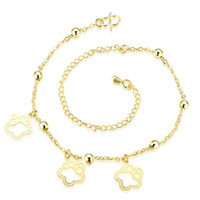 Wholesale Fashion Gold Plated Anklets Nice Sexy Simple Link Chains Anklet Ankle Foot Jewelry Gift with Flowers Leaf Charms for Women Ladies Girls