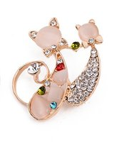ancient china clothes - Double cat brooches restoring ancient ways Pin joker clothing opal kitten brooch