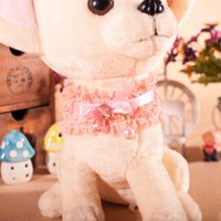 big pearl dog collar - Dog Collar Pearl Pendant Pink Princess Cat Necklace Cute Lace Dog Bowtie Big Jewel Crystal Tag Pet Accessories Pet Collars Bows H