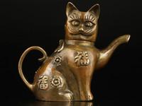 al por mayor estatuas asiáticas-Asiático Superb Collectible Old Handmade Casting Brass Gato Estatuas Tetera
