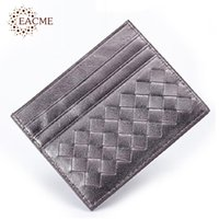 bank fines - Luxury Knitting Sheepskin Credit Card Case Mini Coin Cash Wallets Fine Leather Thin Bank Card Bags Business Card Holder Packs