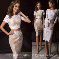 Wholesale Sexy Two Pieces Cocktail Dresses Short Sleeve Lace Applique Formal Party Dress Crystal Desing Knee Length Evening Gowns