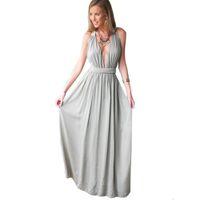 Wholesale Summer Women Chiffon Sexy Deep V Neck Sleeveless Maxi Dress Hollow Out Elegant Party Evening Off Shoulder Dresses